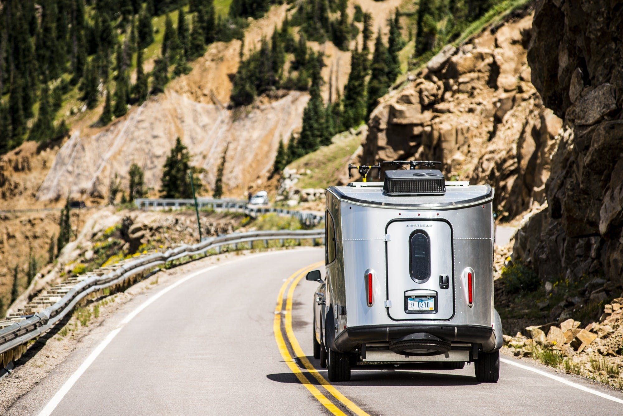 Airstream Basecamp on curvey road