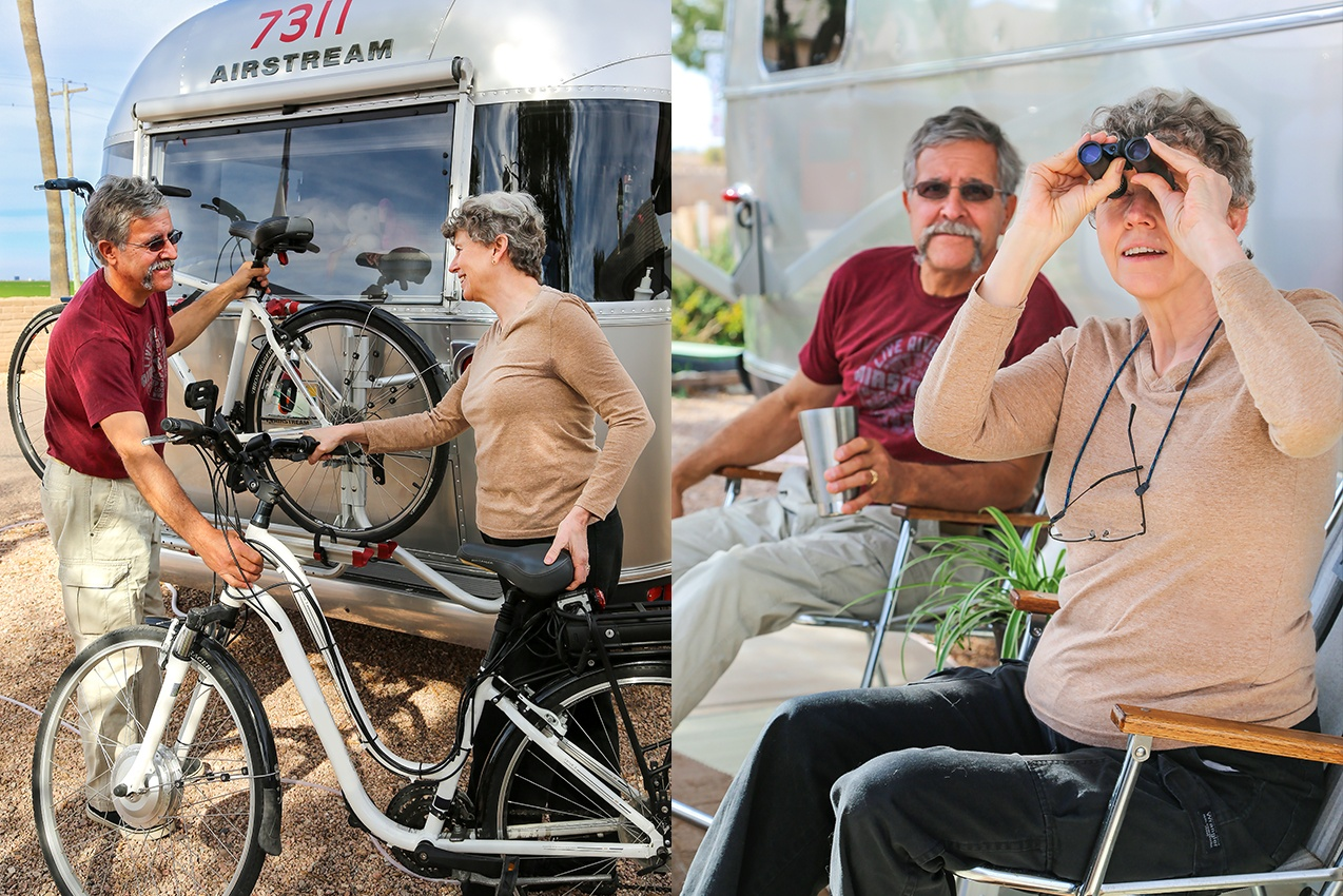 Retirement Airstream Home with Bob and Page Bicycle