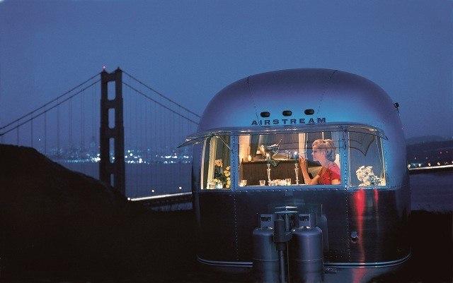 Airstream Travel Trailer and Golden Gate Bridge San Franciso