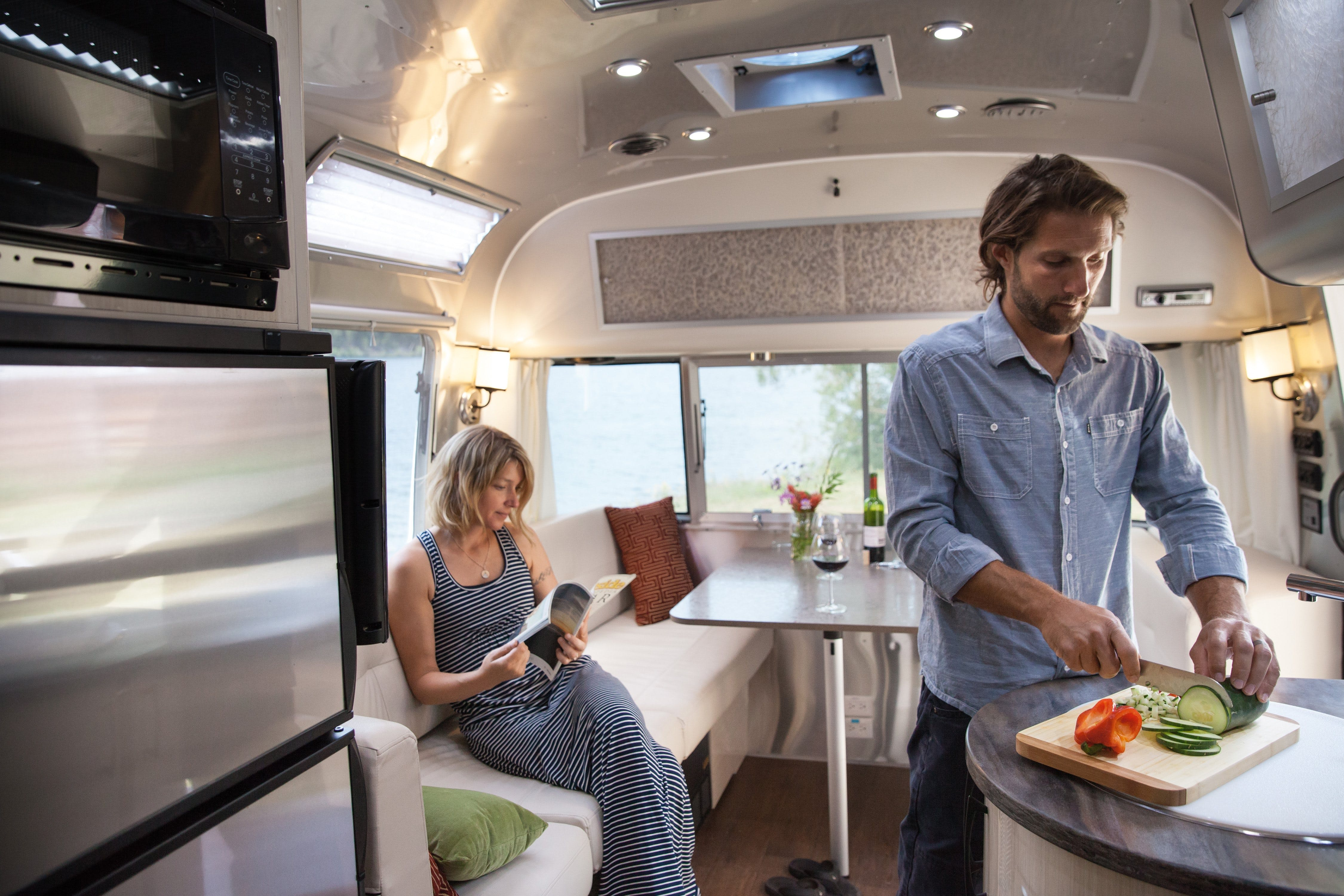 Couple Cooking in an Airstream