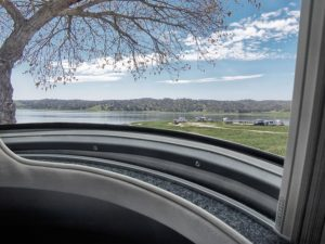 Oceanair and Airstream worked together to create a beautiful, functional, and durable solution for shading the curving panoramic windows on Airstream's 33-foot Classic travel trailer.