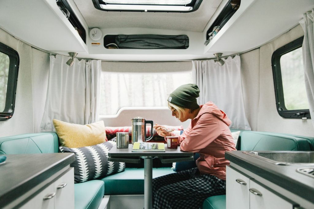 Airstream Nest dinette with windows and foot laura austin