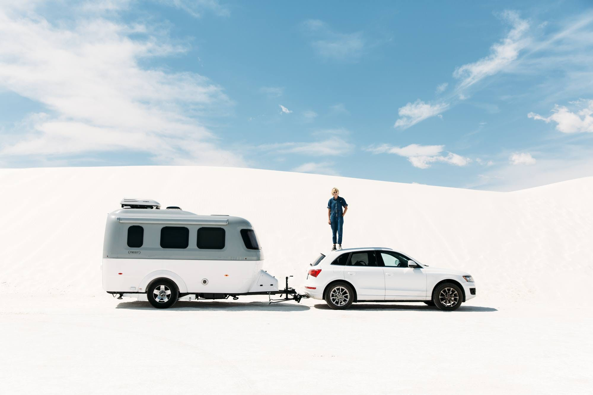 Laura Austin in White Sands with Airstream Nest