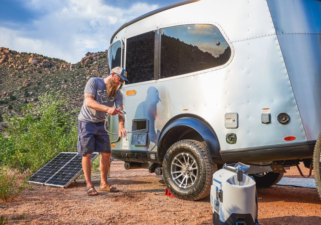 Airstream Basecamp X Pass Through Shower Head Zamp Solar Panels