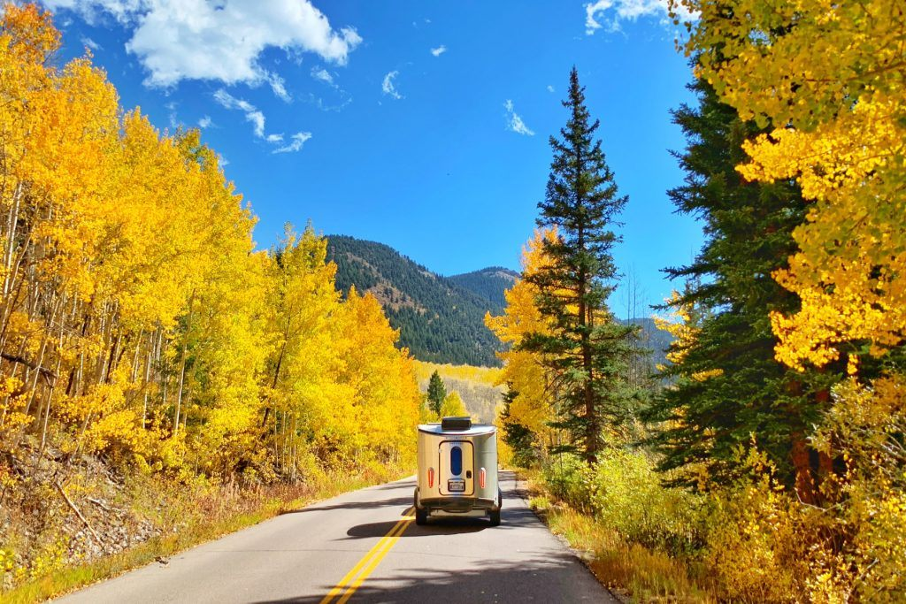 Airstream Basecamp Fall Nature Trees Roadway Roadtrip Highway