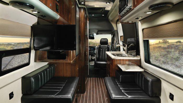 Airstream Interstate Nineteen Mercedes Benz interior black leather
