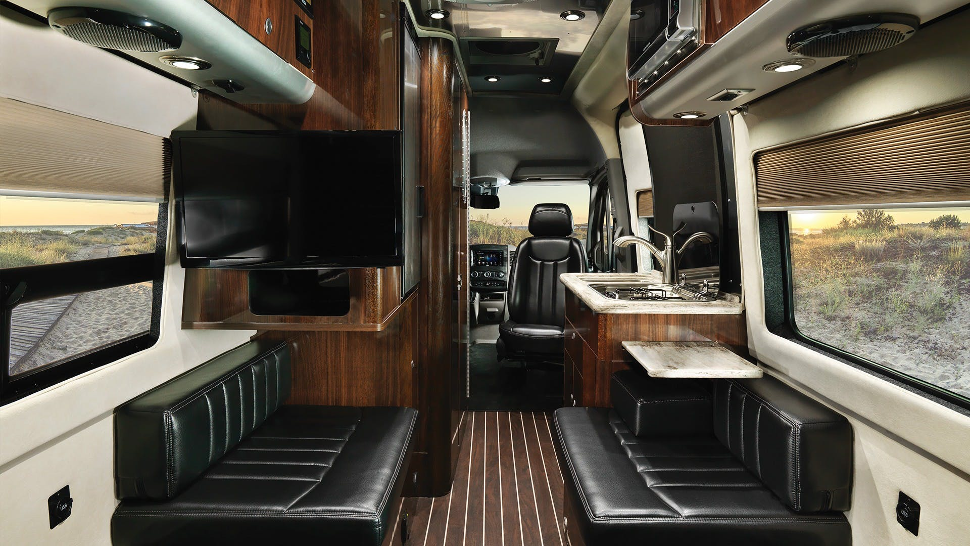 Airstream Interstate Nineteen Mercedes Benz interior black leather