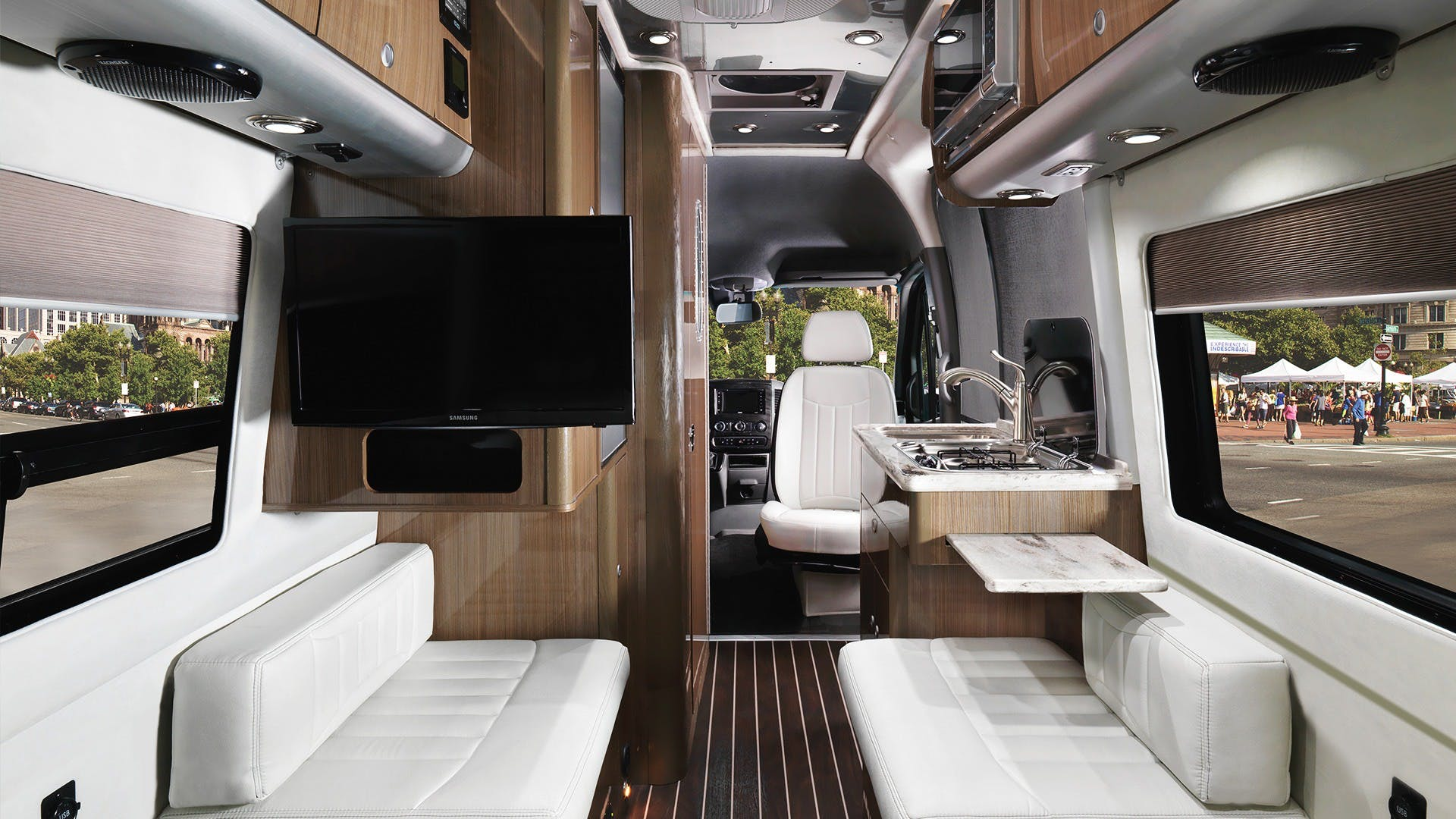 Airstream Interstate Nineteen Mercedes Benz interior white leather