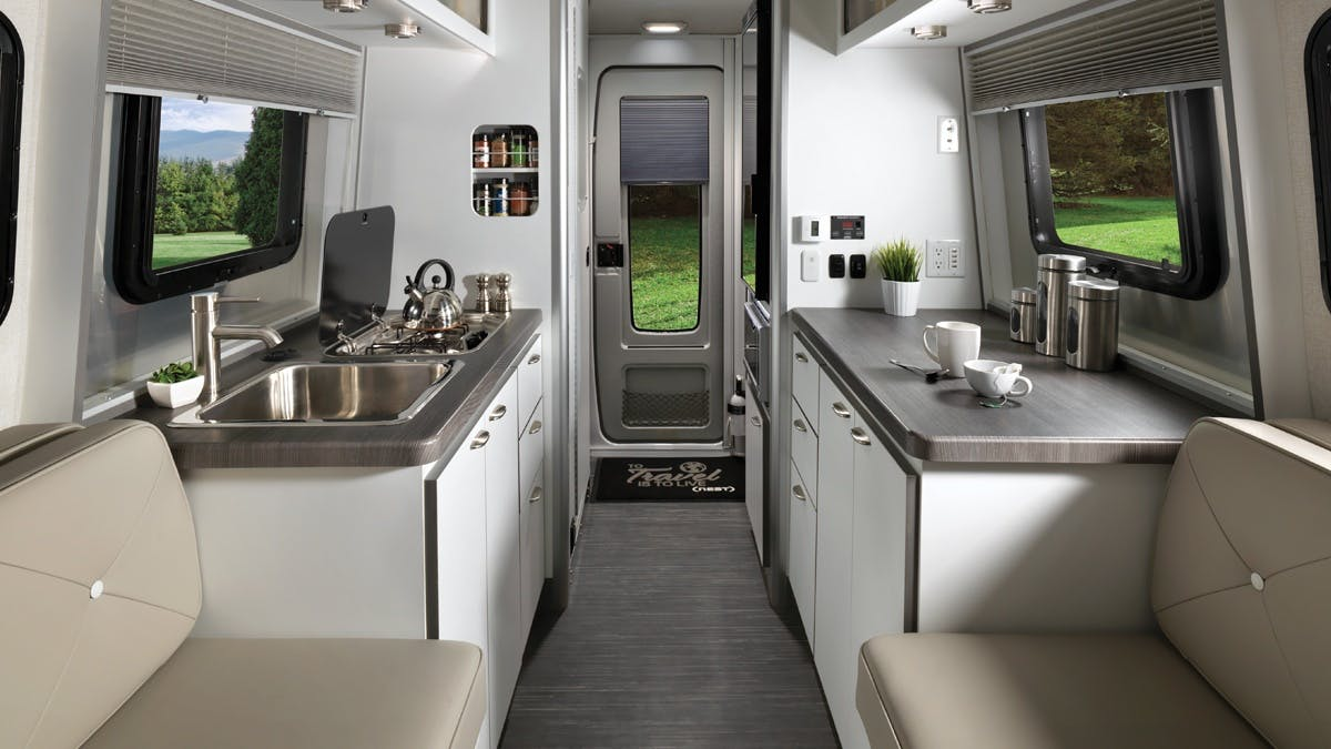 Airstream Travel Trailer white interior galley