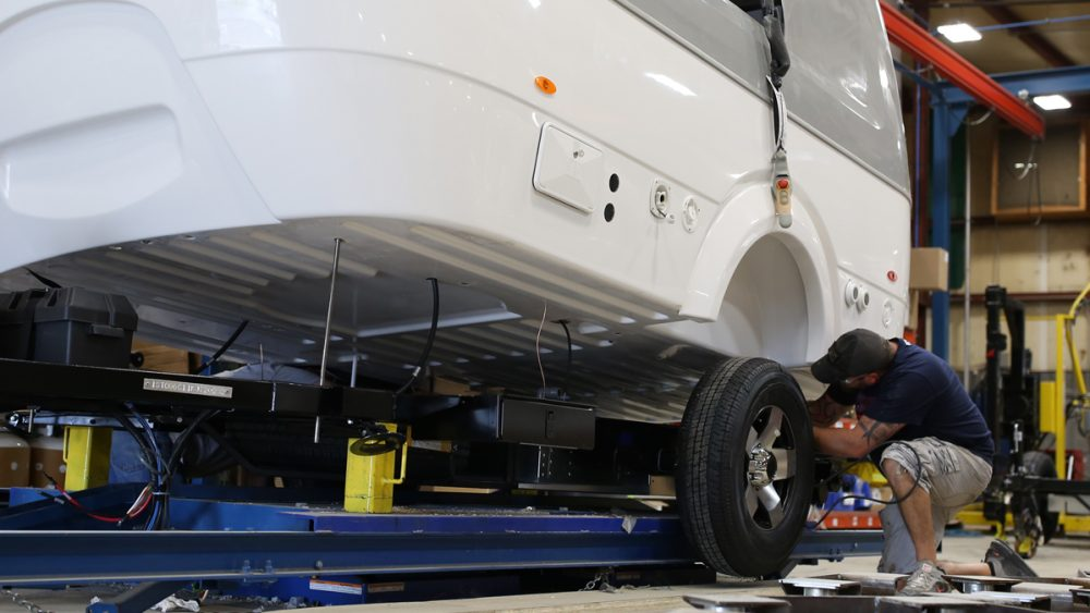Airstream Travel Trailer Nest production process quality chassis