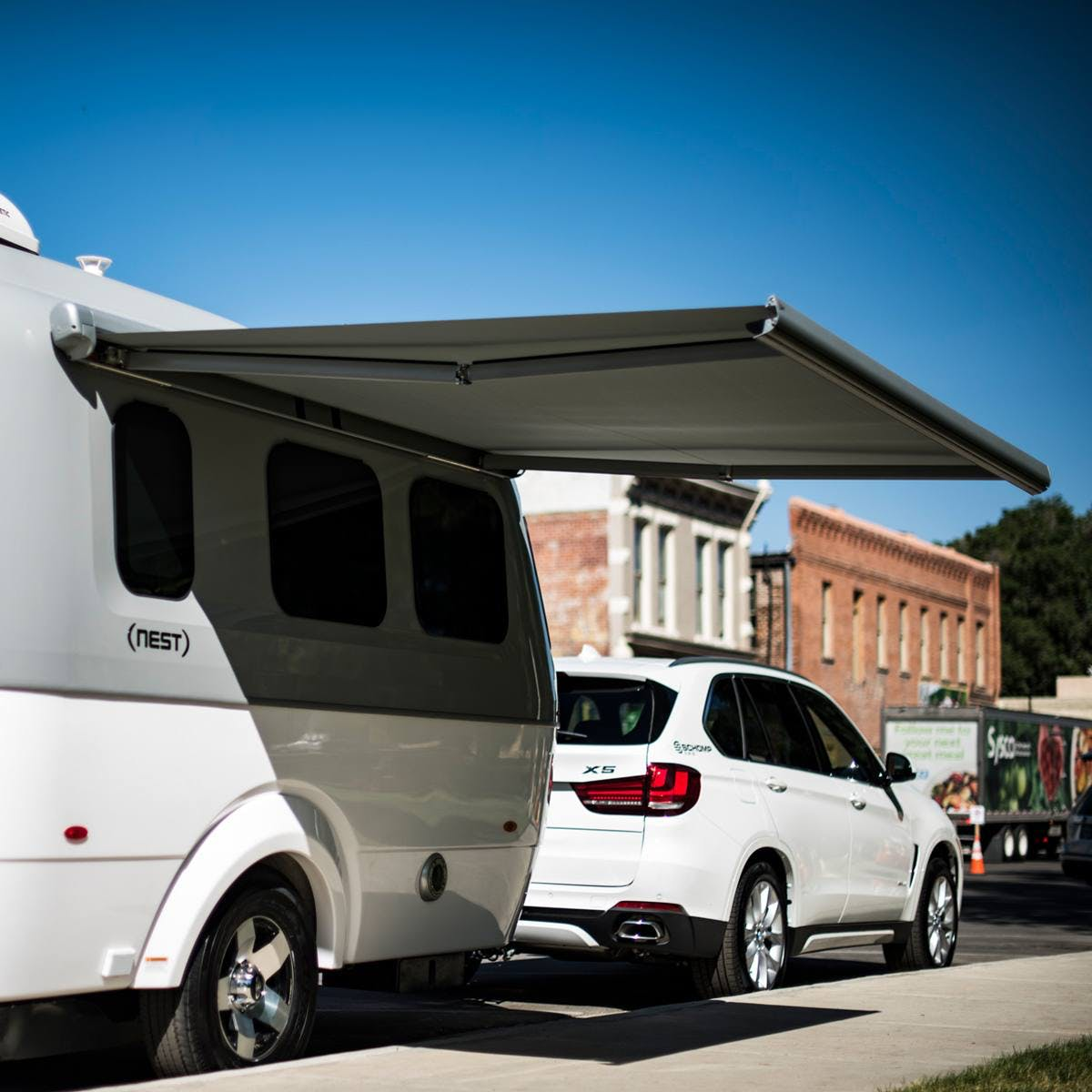 Airstream Travel Trailer Nest extended electric awning