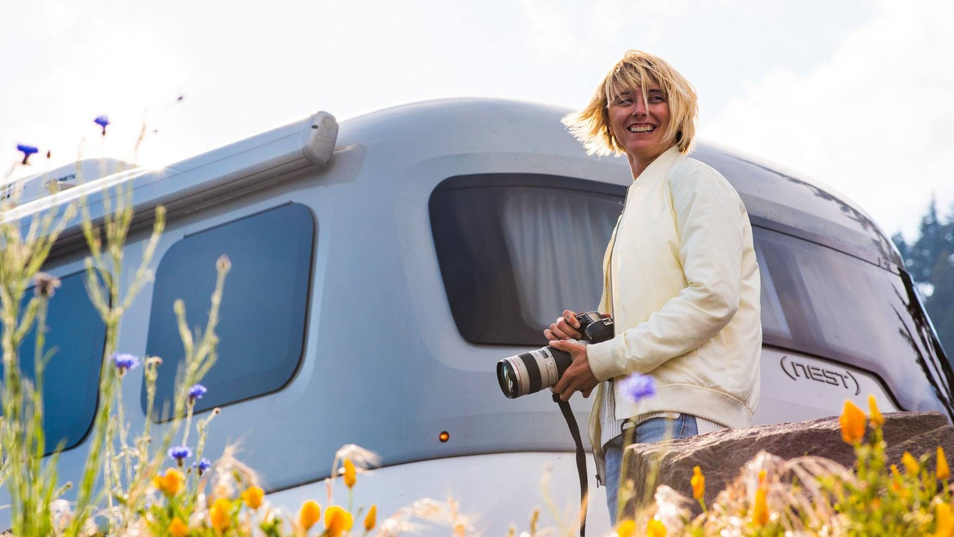 Laura Austin flowers Airstream Travel Trailer Nest