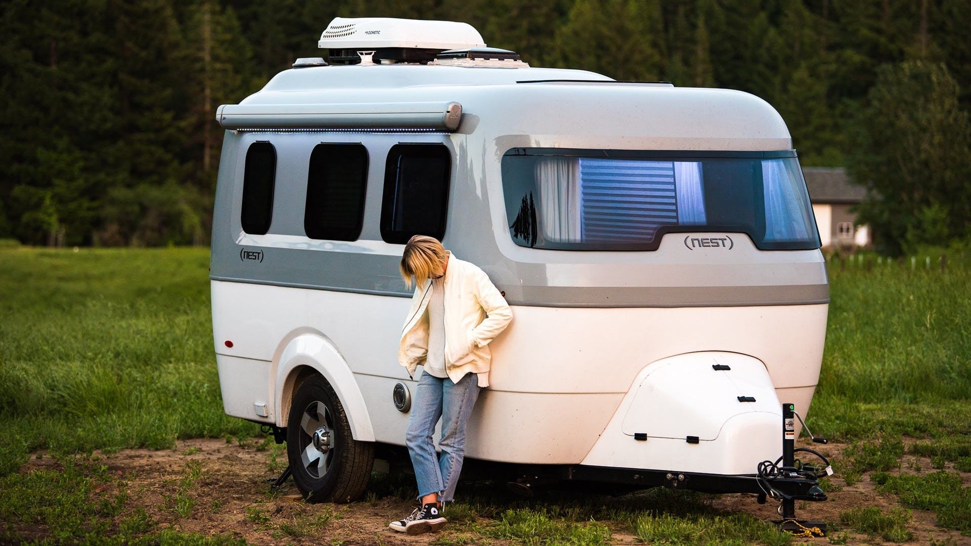 Airstream Travel Trailer Nest Laura Austin front outside