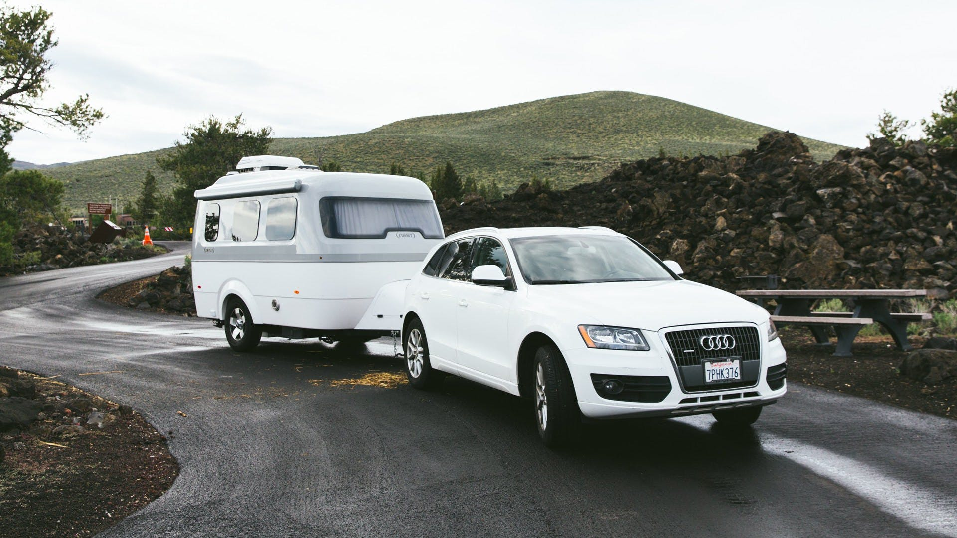 Airstream Travel Trailer Nest Audi Q3 small Sport utility vehicle towable mountain nature road