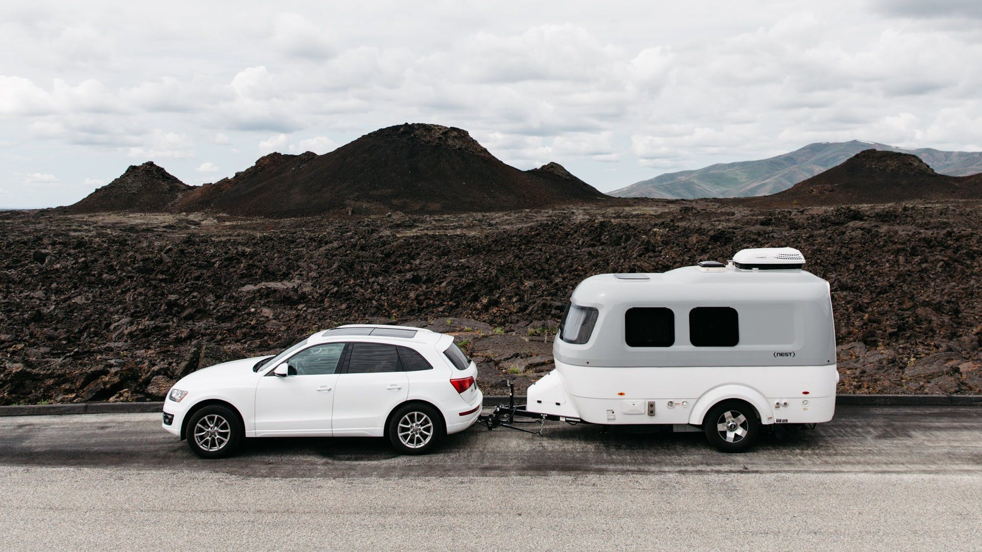 Airstream Travel Trailer Nest Audi Q3 SUV towable Road