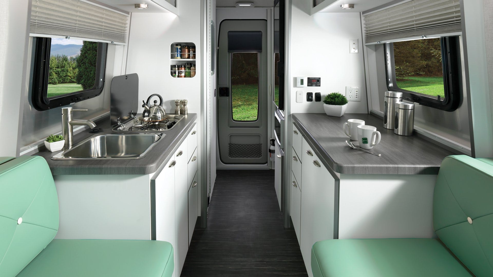 Nest by Airstream clutch blue interior floor plan galley