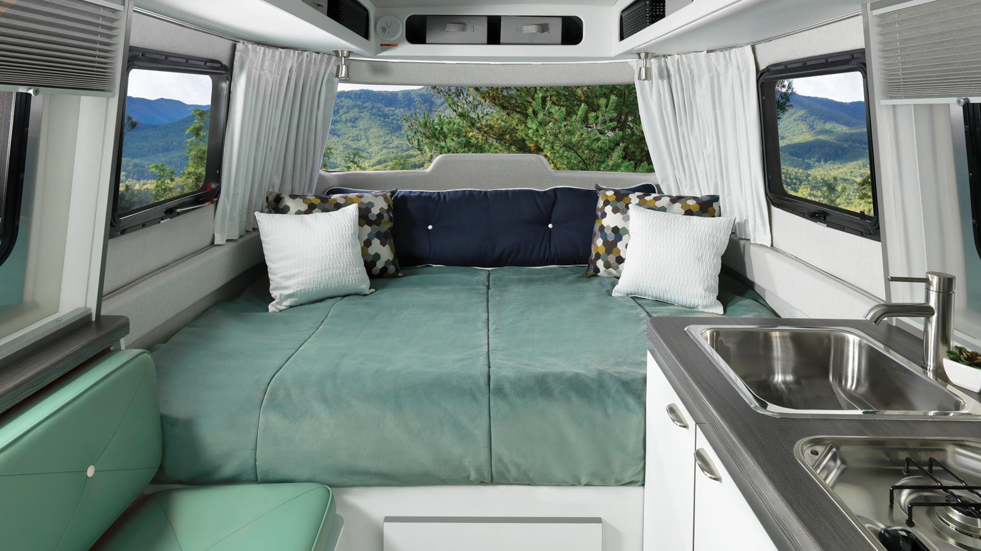 Nest by Airstream clutch blue interior floor plan galley front