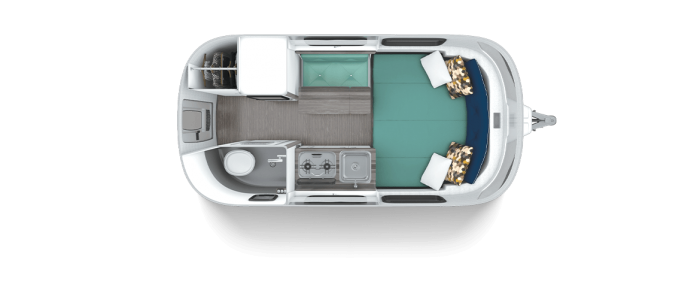 Nest by Airstream front bed floor plan