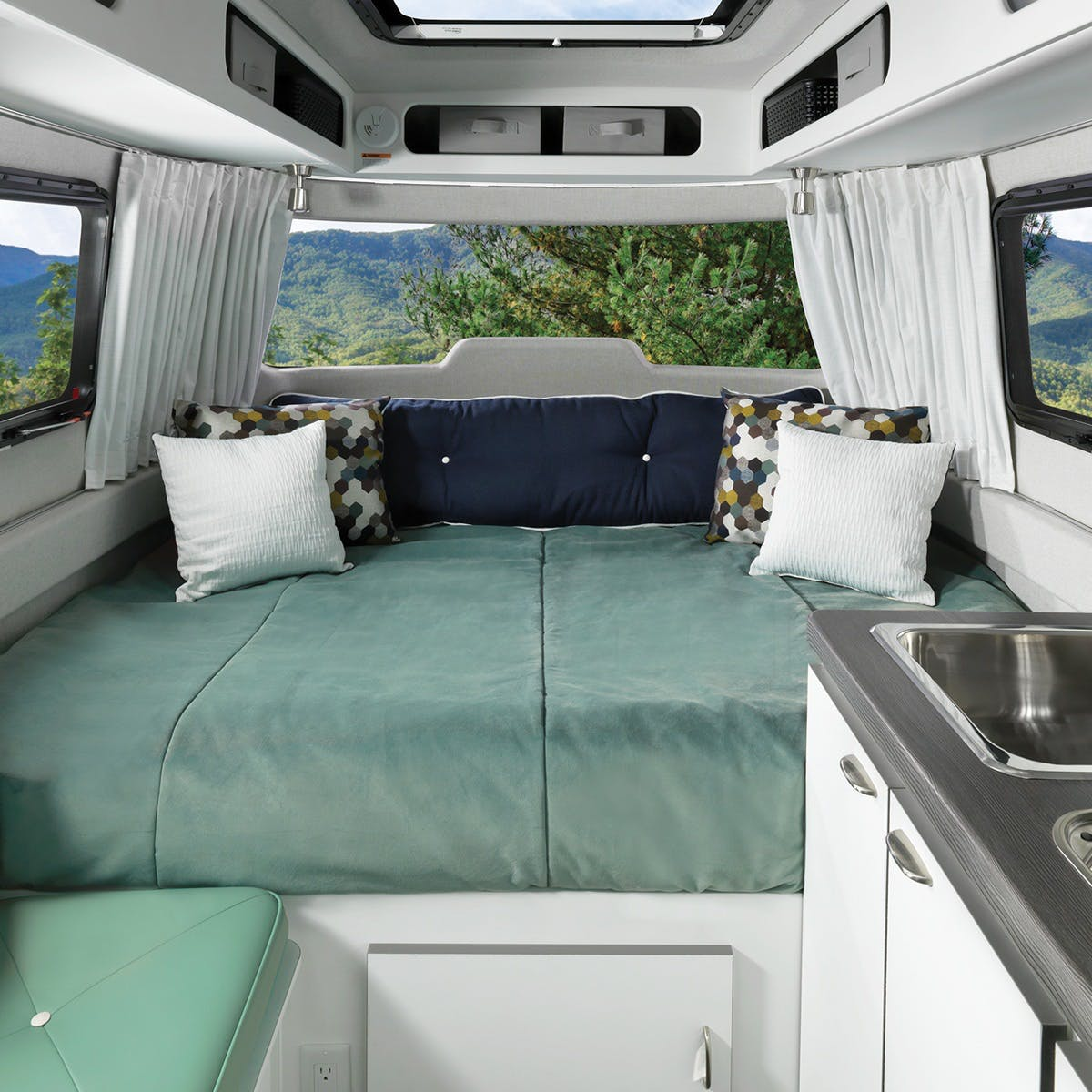 Nest by Airstream clutch blue bed cover decor storage interior