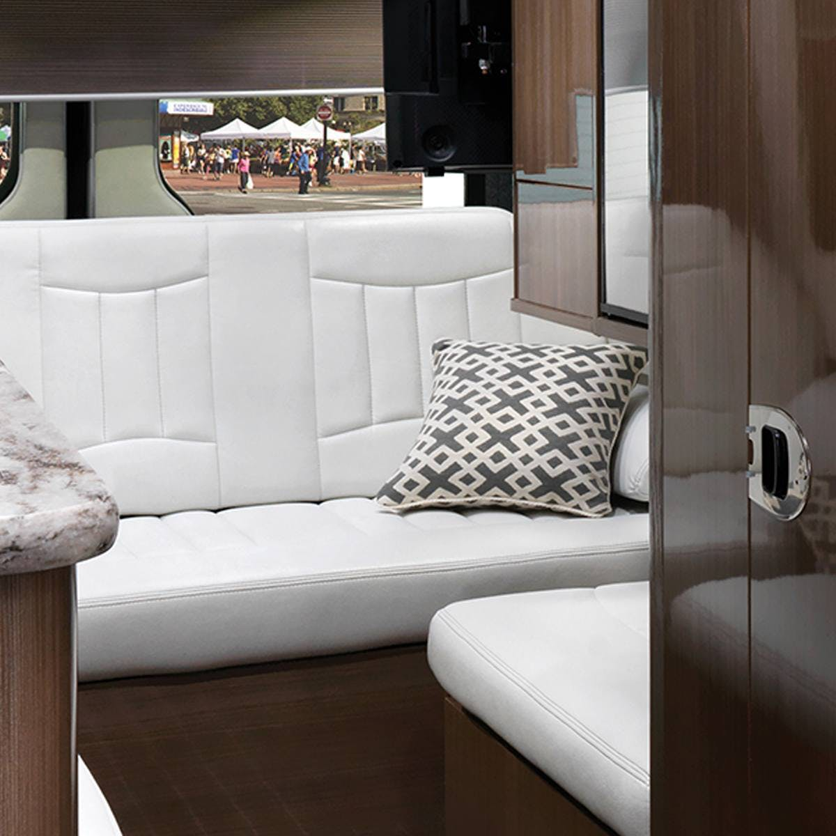 Airstream Interstate Nineteen Mercedes Benz rear lounge white leather