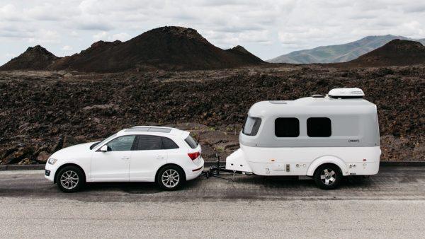 Airstream Nest Fiberglass Sixteen Foot Travel Trailer Audi Q3 Mountains