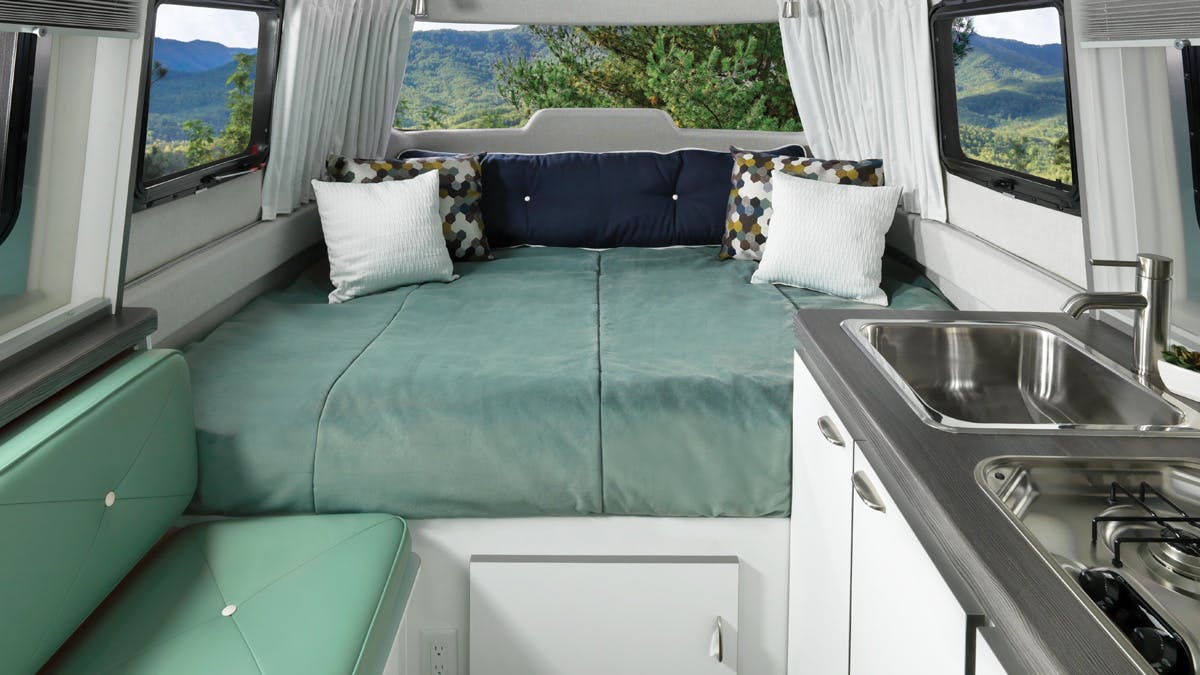Nest by Airstream Interior decor galley clutch blue pillows color kitch