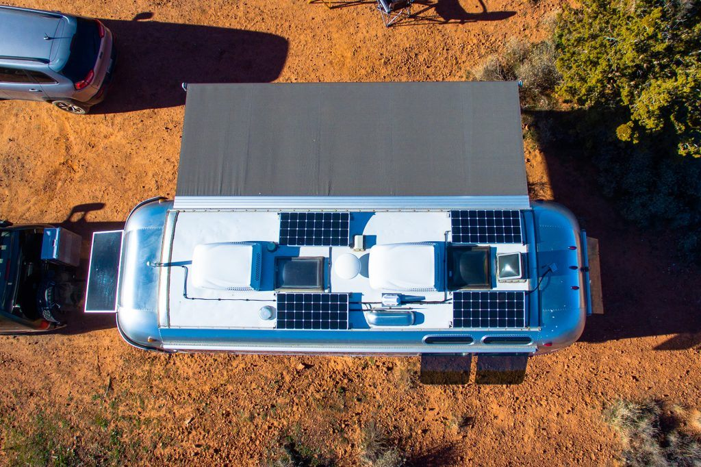 Airstream Connected Antenna Solar Panels Awning Desert