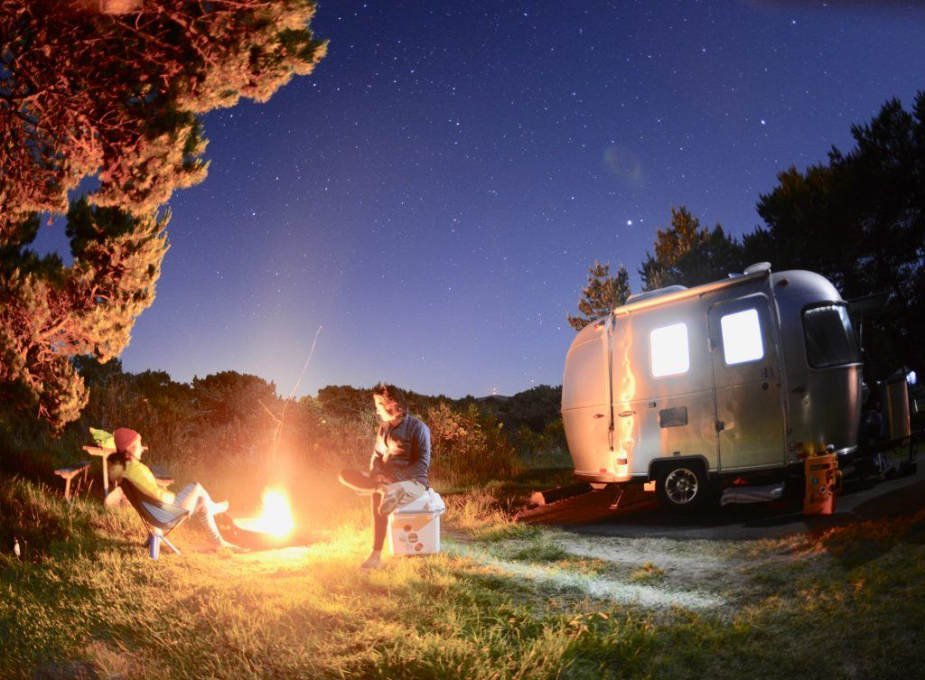 Airstream Bambi Sport Campfire Trees Night Sky Boondocking