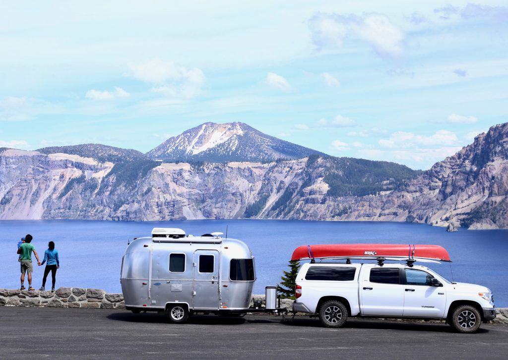 Airstream Bambi Sport Lake Mountains Road Travel Humans Location Sky