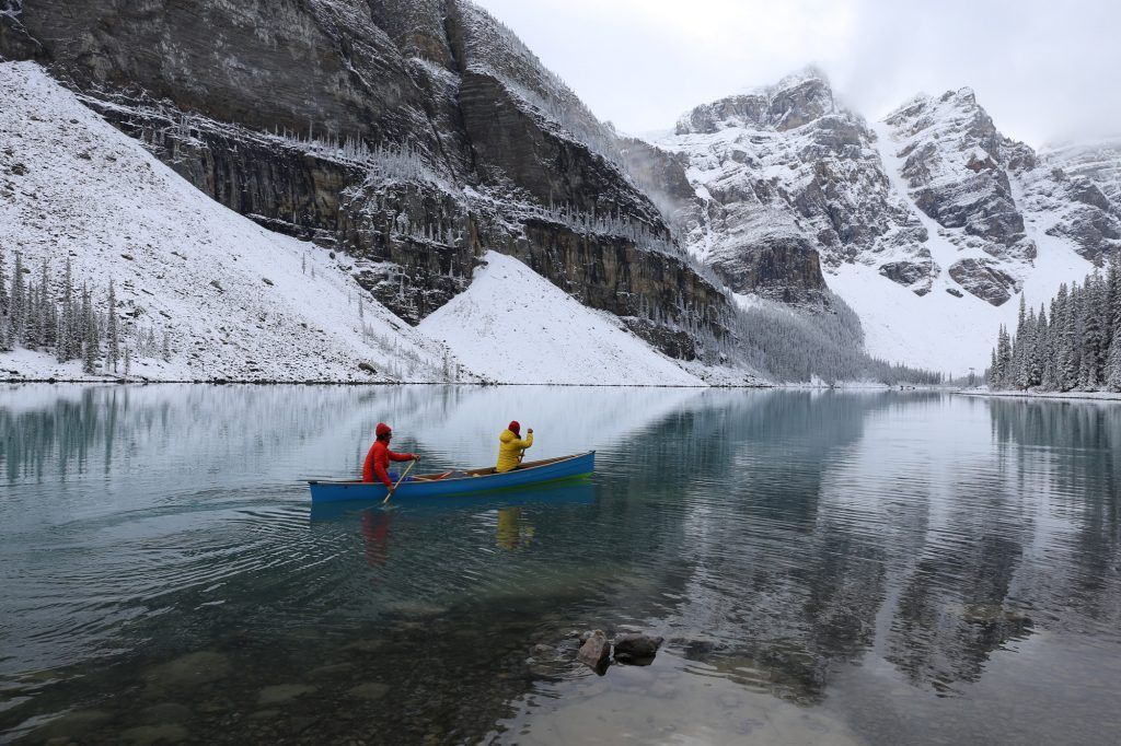 Robert and Bella Gibbons Airstream Kayaking Winter Mountains Water Snow