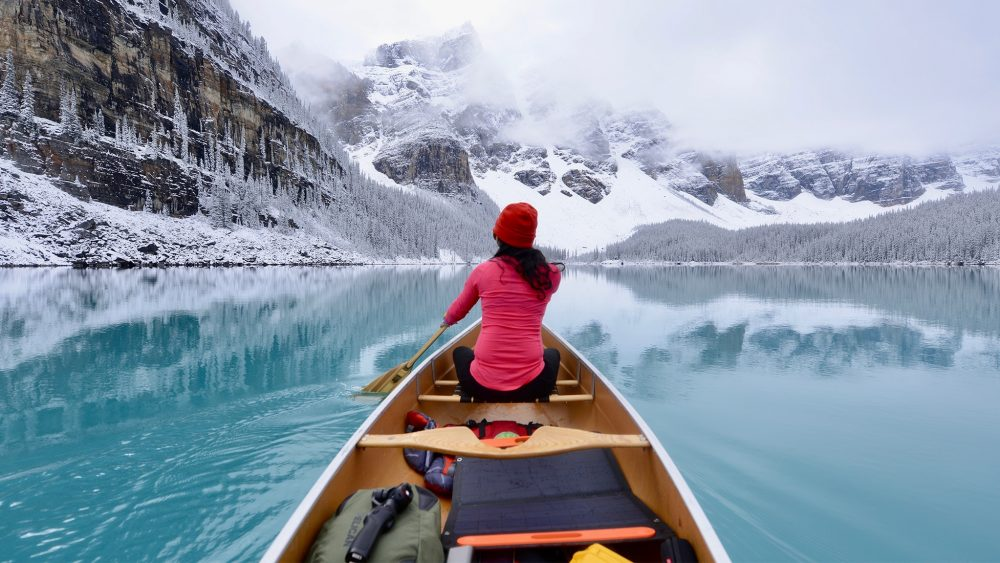 Airstream Ambassadors Gibbons Lake Boat Snow Mountains