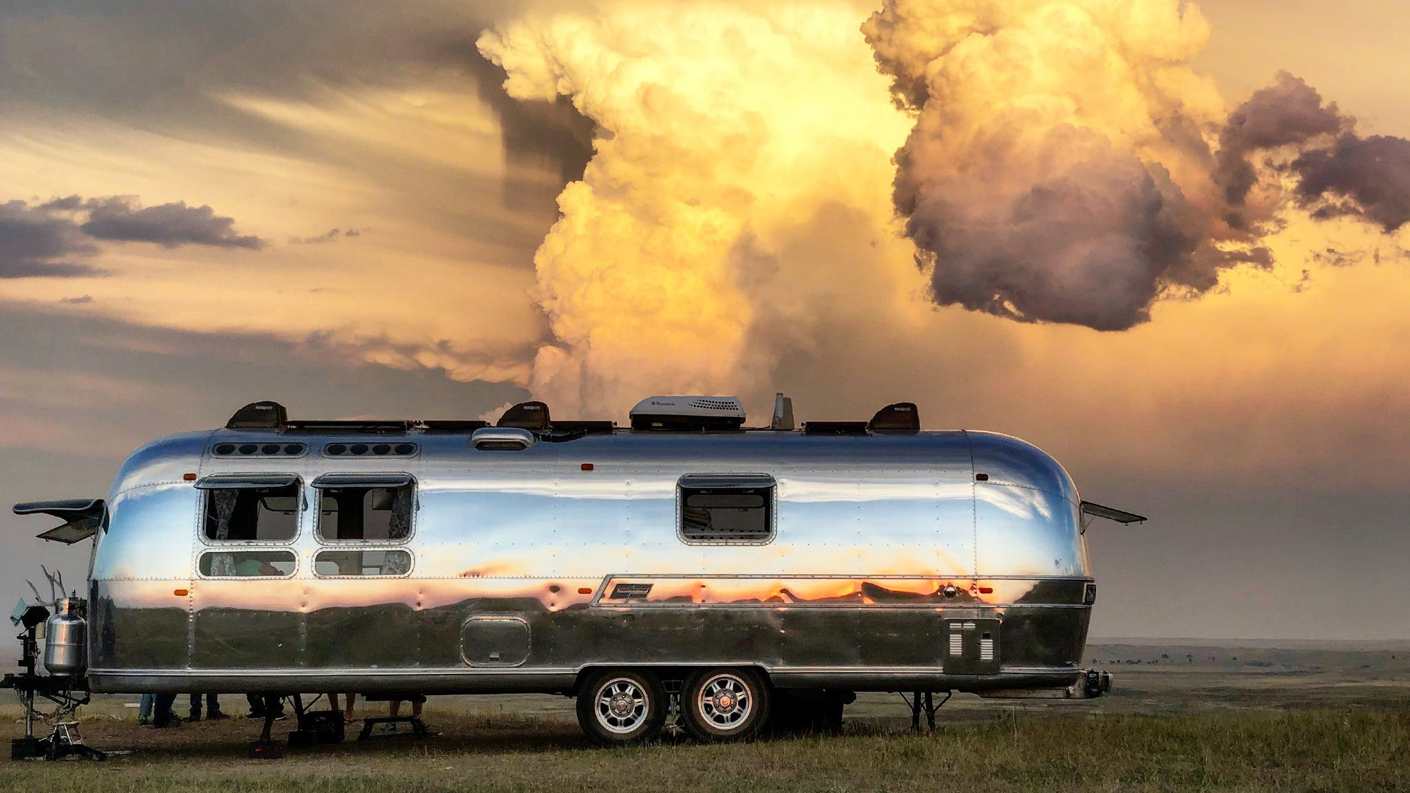 Airstream Travel Trailer camper camping clouds boondocking