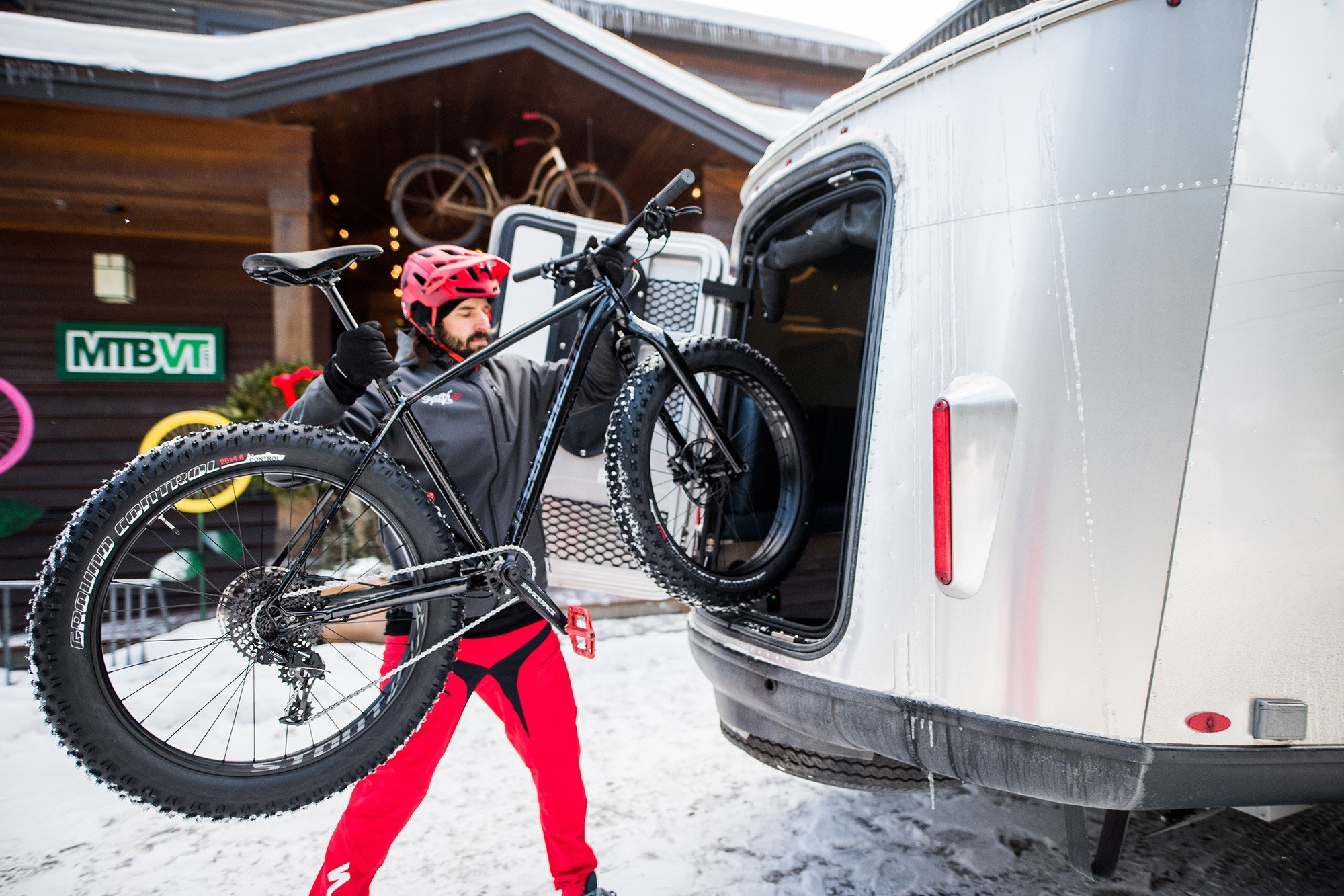 Airstream Basecamp Loading Bicycle