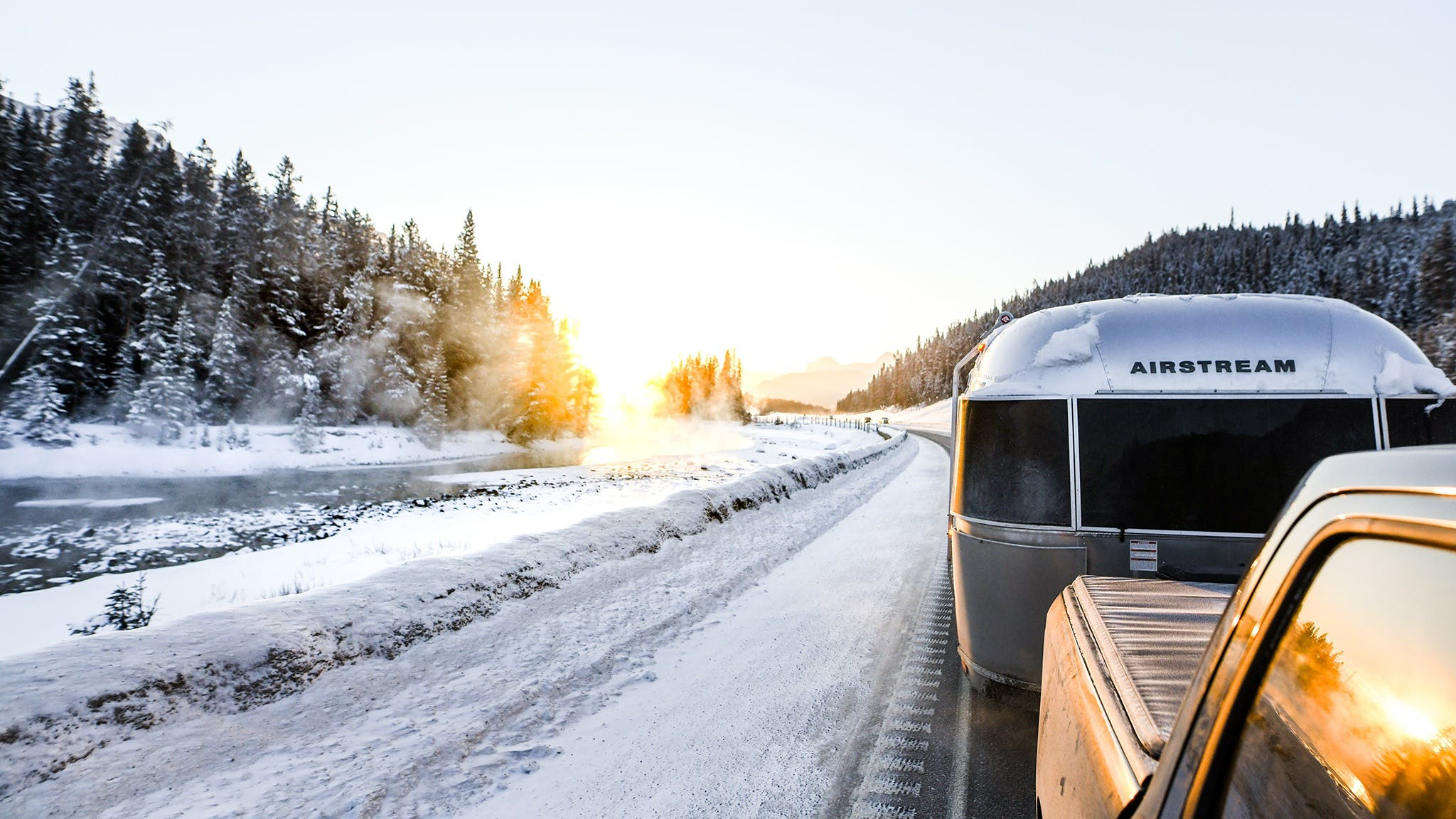 Airstream Travel Trailer Pickup Truck Winter Towing Snow