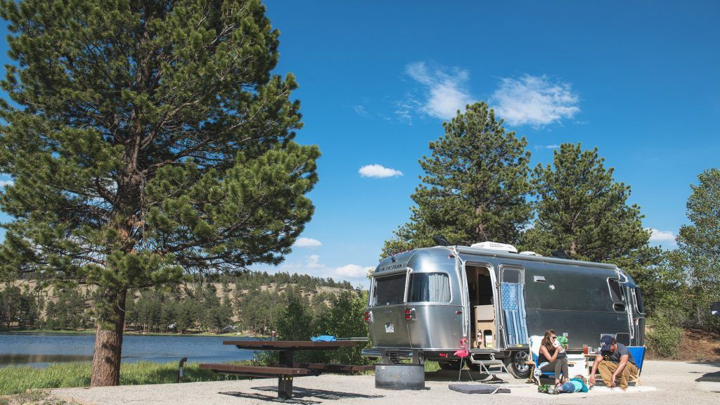 Airstream Campsite Trees Nature Water