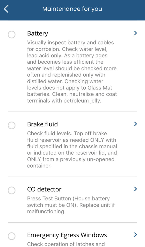 airstream care app checklist for maintenance