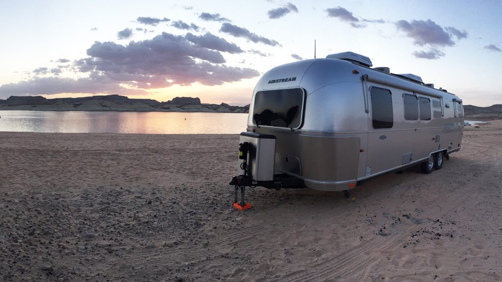 Airstream Travel Trailer at Lone Rock Beach, Glen Canyon National Recreation Area