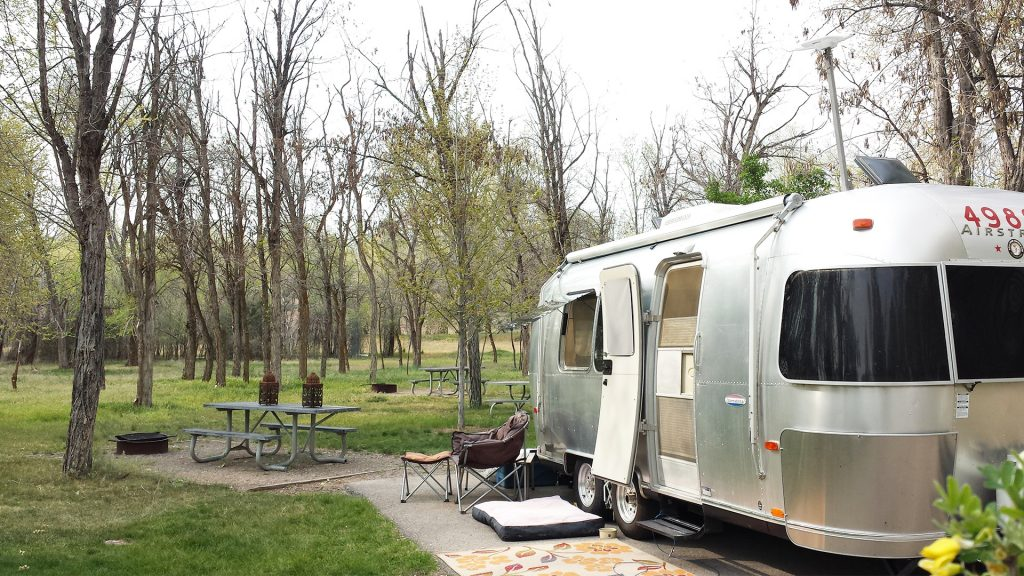 Airstream Travel Trailer at Three Island Crossing State Park