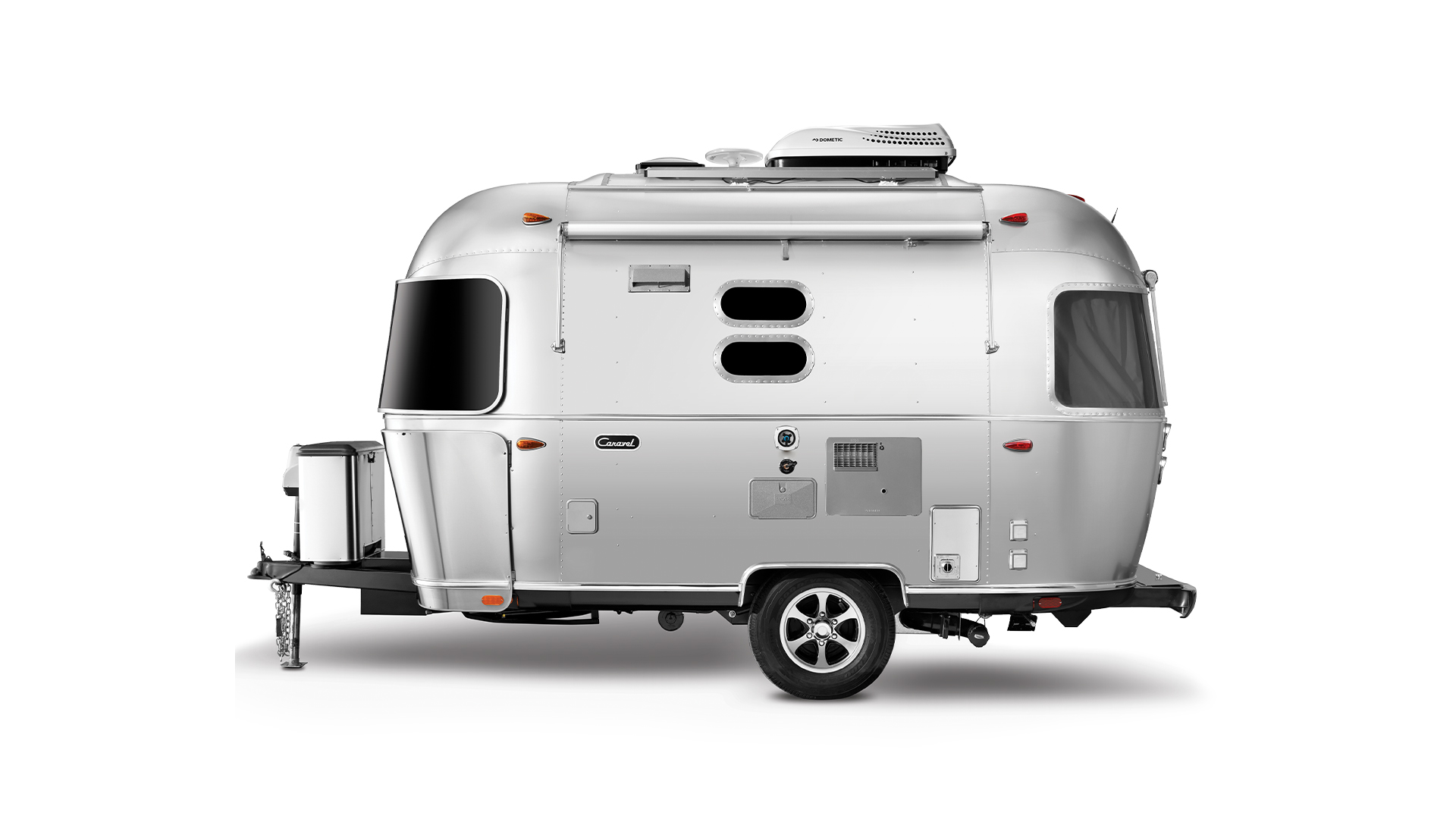Airstream Caravel 16 foot travel trailer street side view