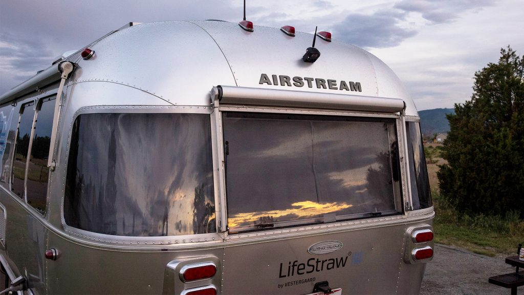 Airstream and LifeStraw Travel Trailer Rear Sunset
