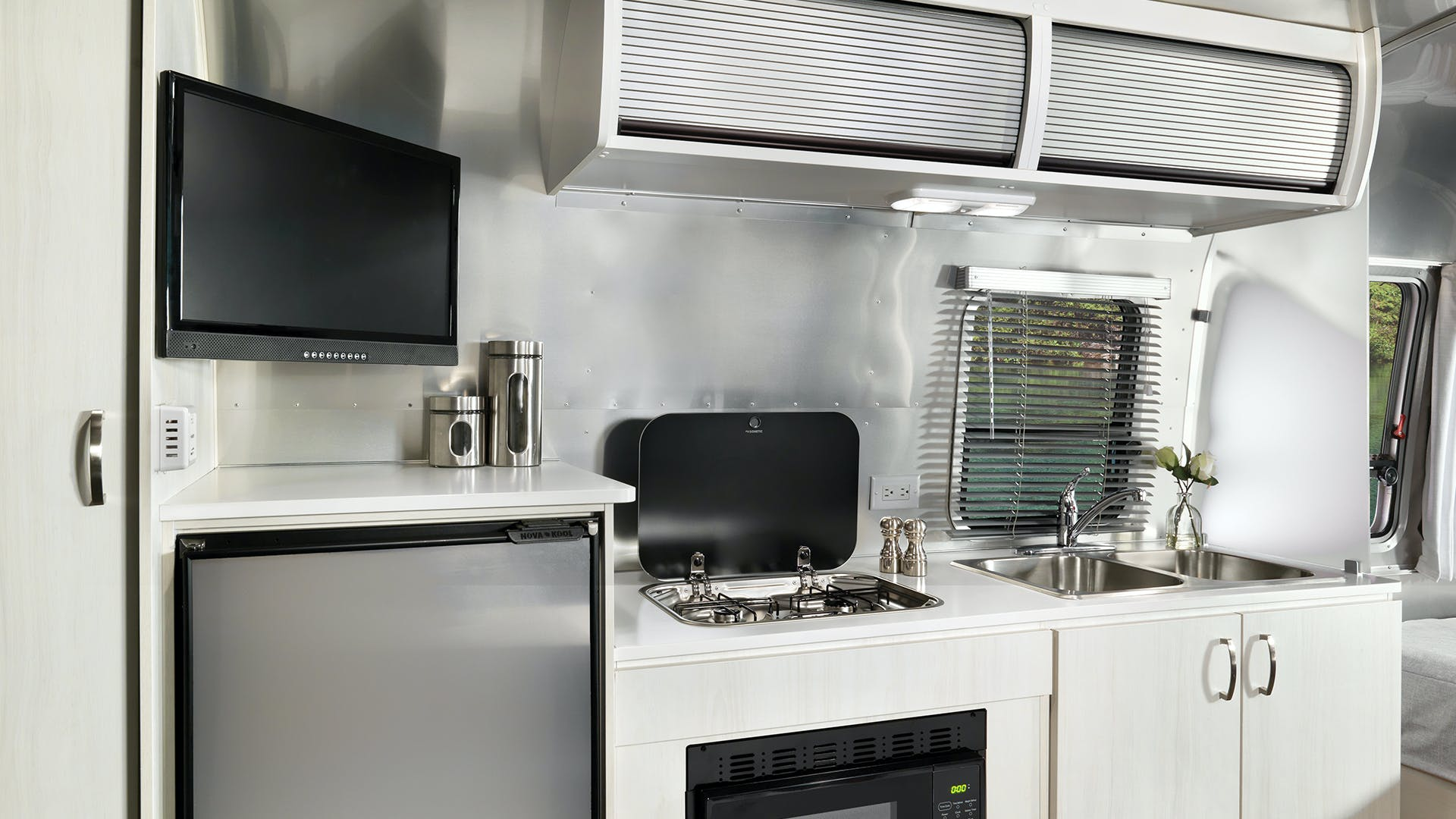 2020 Airstream Bambi Interior Kitchen Galley Stove Refrigerator