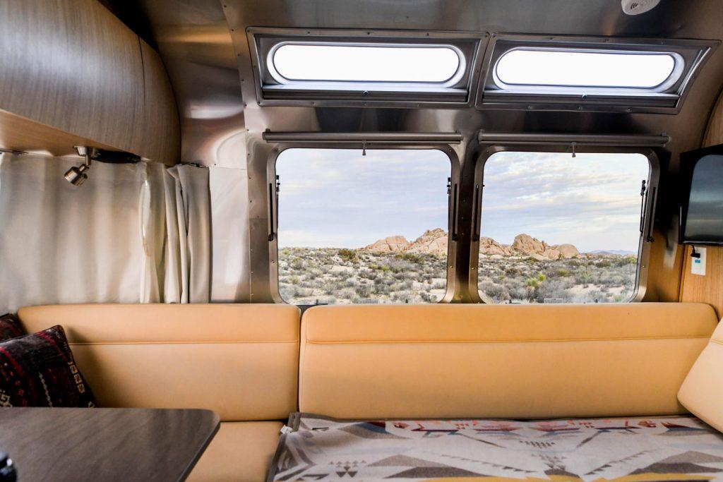 Inside an Airstream Travel Trailer