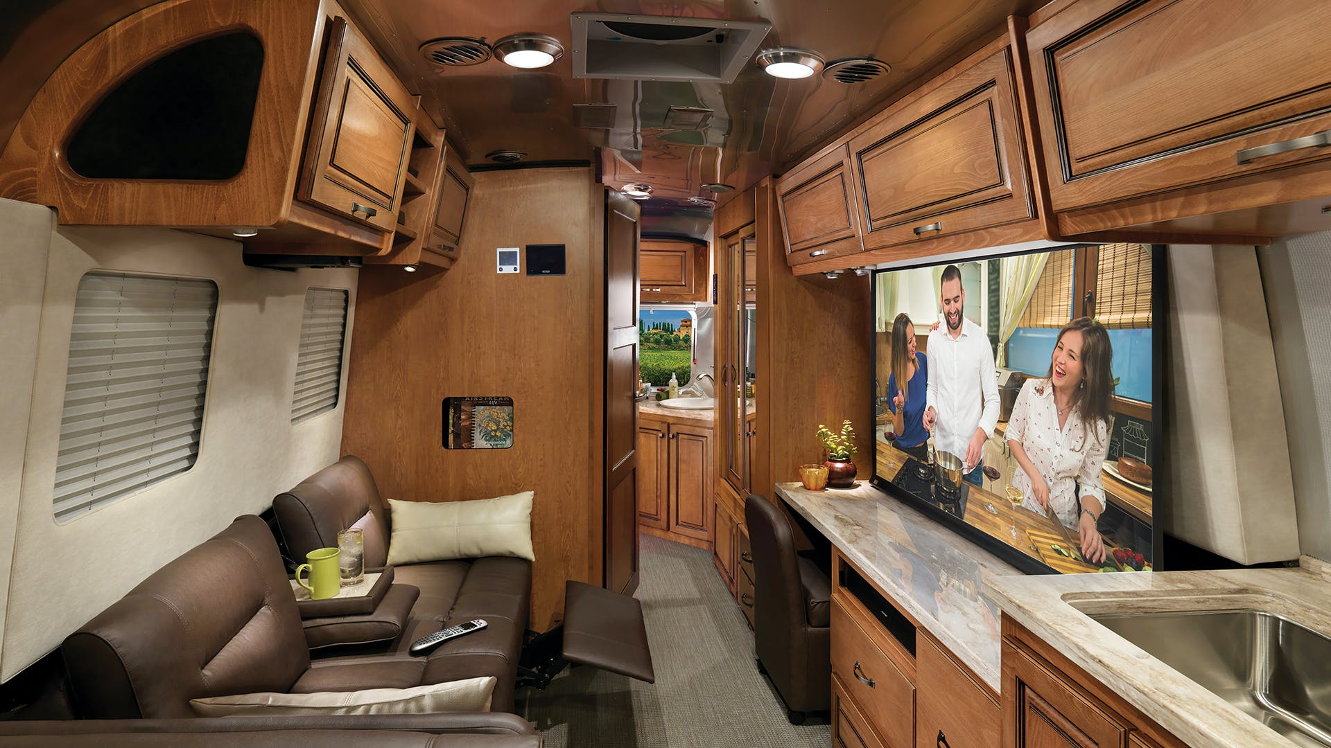 Airstream Classic Interior with Projection Screen TV