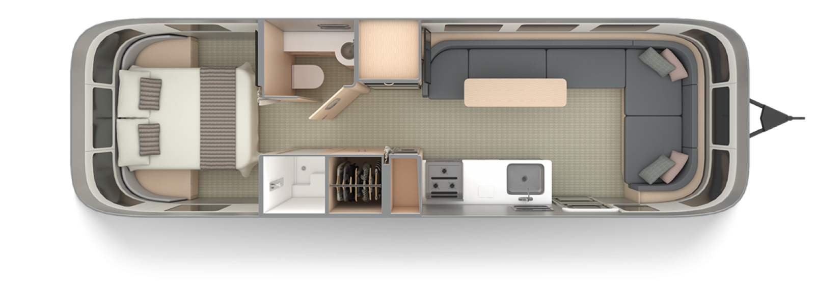 Airstream 30RB Queen Barcelona Blue Queen Floor Plan