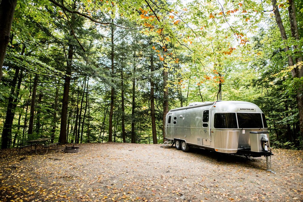 Airstream Travel Trailer Vermont Fall Leaves and Trees