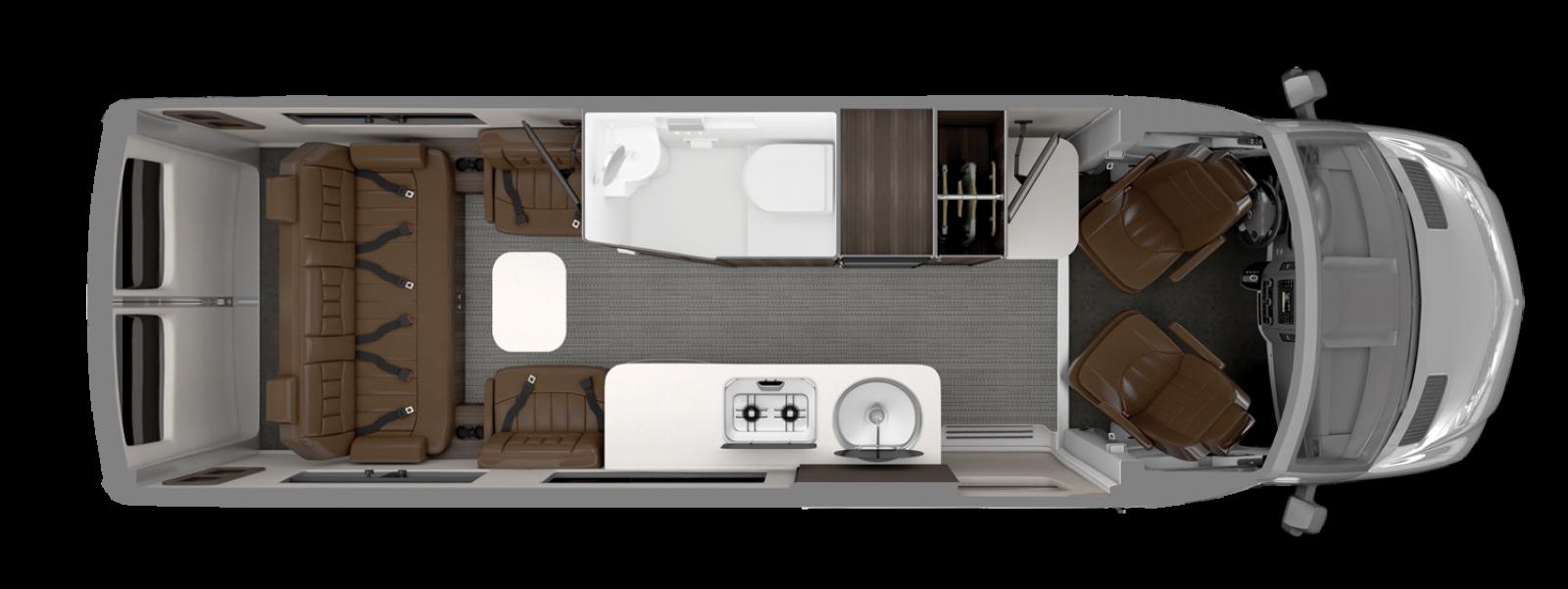 Interstate Grand Tour EXT Airstream Floorplan Refined Brown