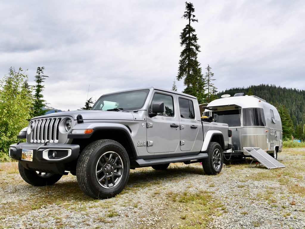 Airstream and 2020 Jeep Gladiator Towing Camping