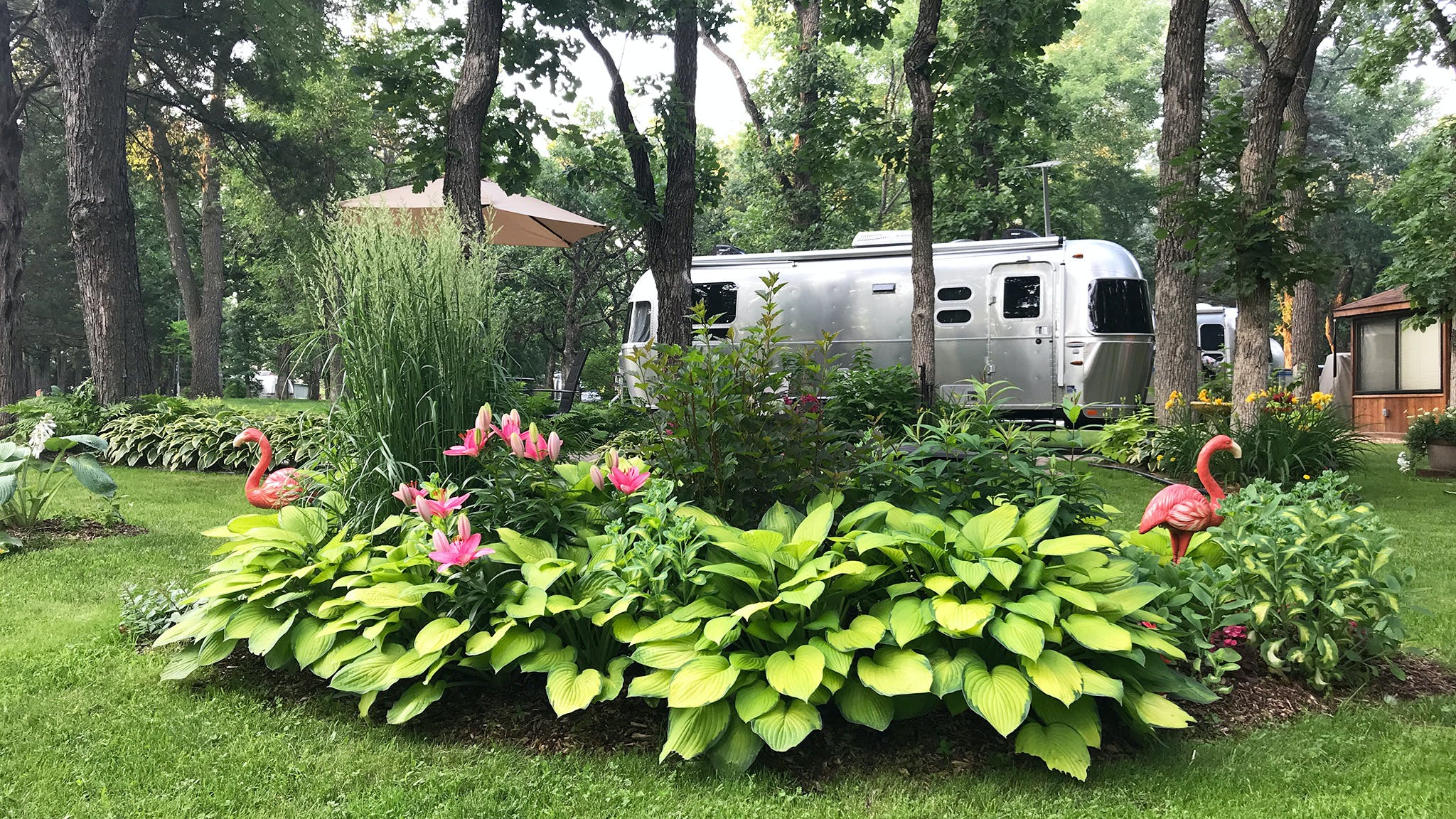 Airstream Travel Trailer in a garden with pink flamingo and trees