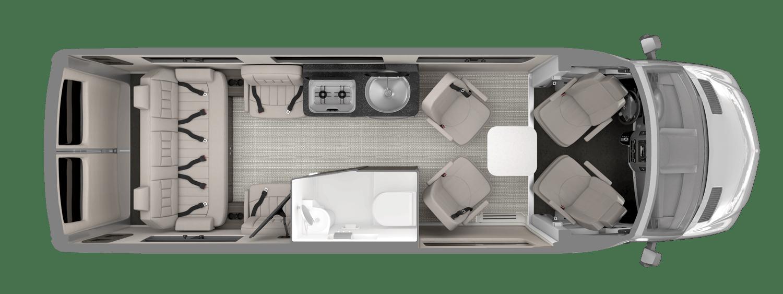 Airstream Interstate 24GL Floor Plan Modern Greige Interior