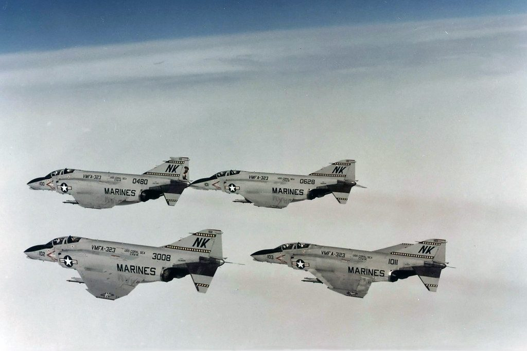 USS Coral Sea VMFA-323 Death Rattlers F-4N Phantoms BuNo 153008,